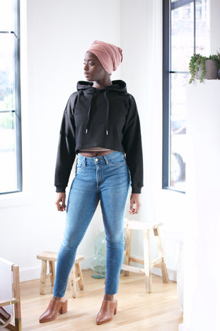 Shine Diagonal Seam Oversized Cropped Sweatshirt