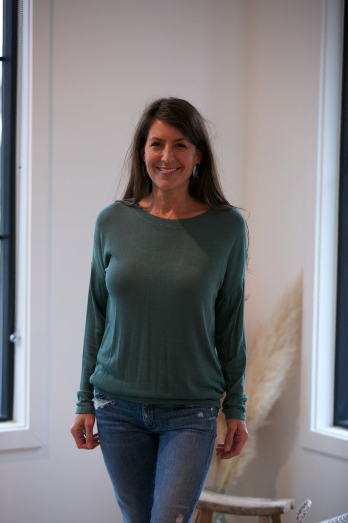 Shine L/S Drop Shoulder Round Neck Top Teal
