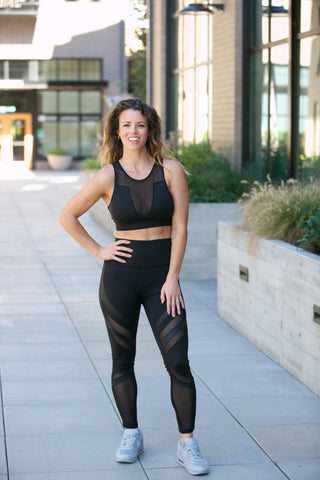 Shine Mesh Capri Leggings