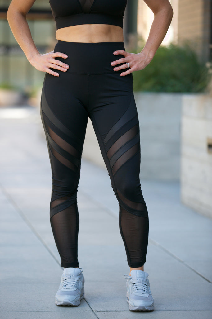 Shine Oxygen Diagonal Mesh Leggings Black