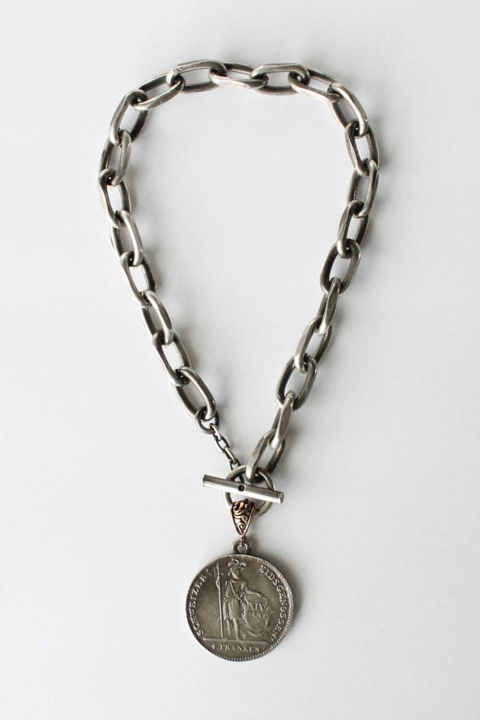 zoWEE Jewels Short Chunky Chain Necklace w/Coin Silver