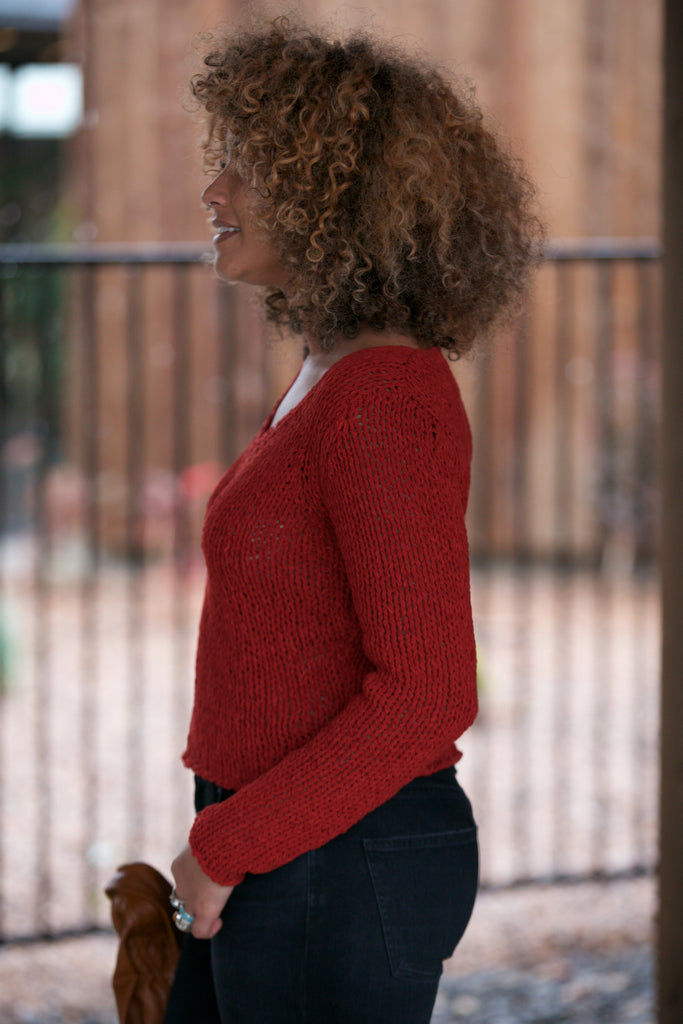 SkyLar Rose V-Neck Chunky Sweater