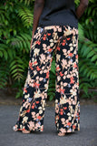 Soaked In Luxury Amma Pants in Black Floral Print