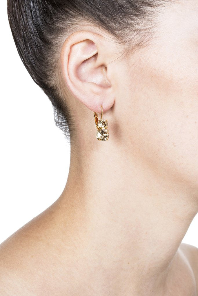 Grayling Sophia Swarovski Leverback Earrings in Gold