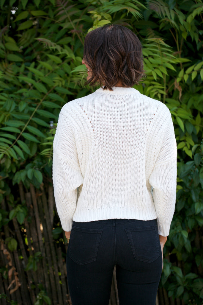 Stone Row Deep Cable Sweater in Star White