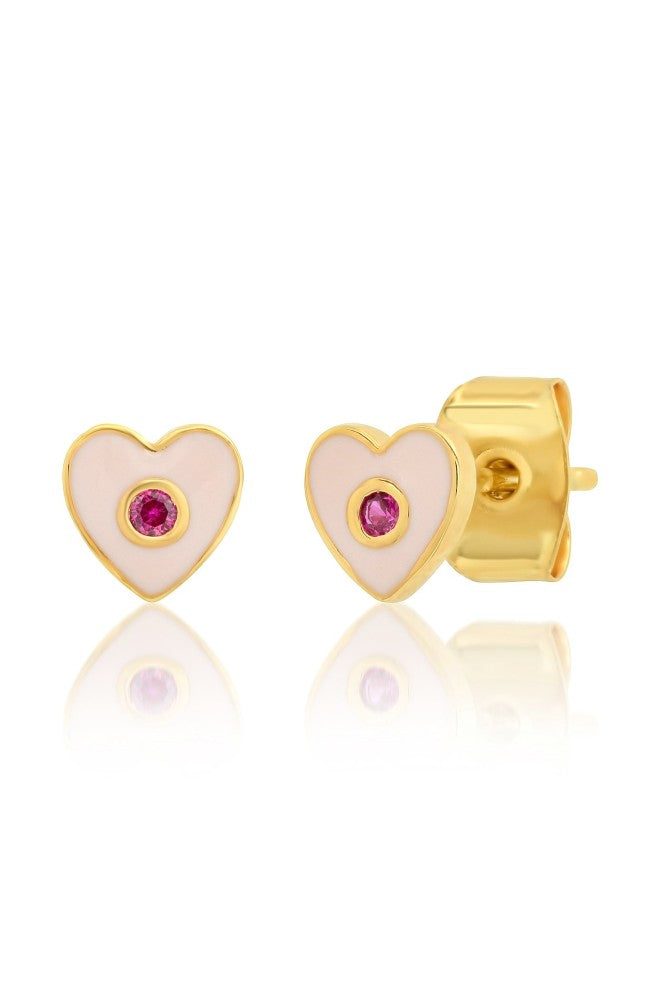 TAI Enamel Heart w/CZ Accents Stud Earrings