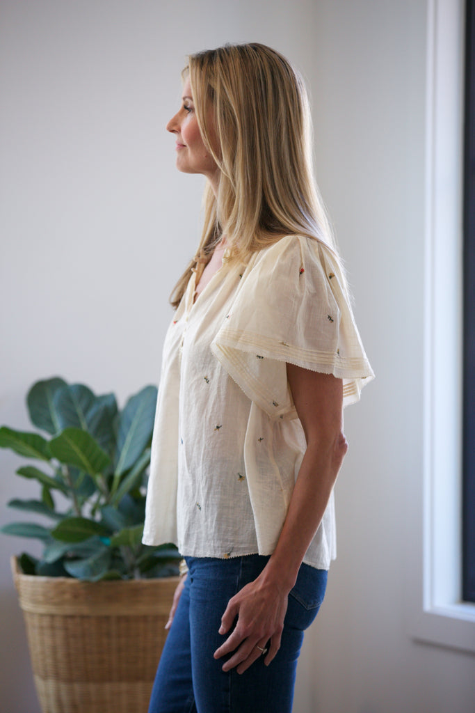 THE GREAT. The Flutter Sleeve Chime Top