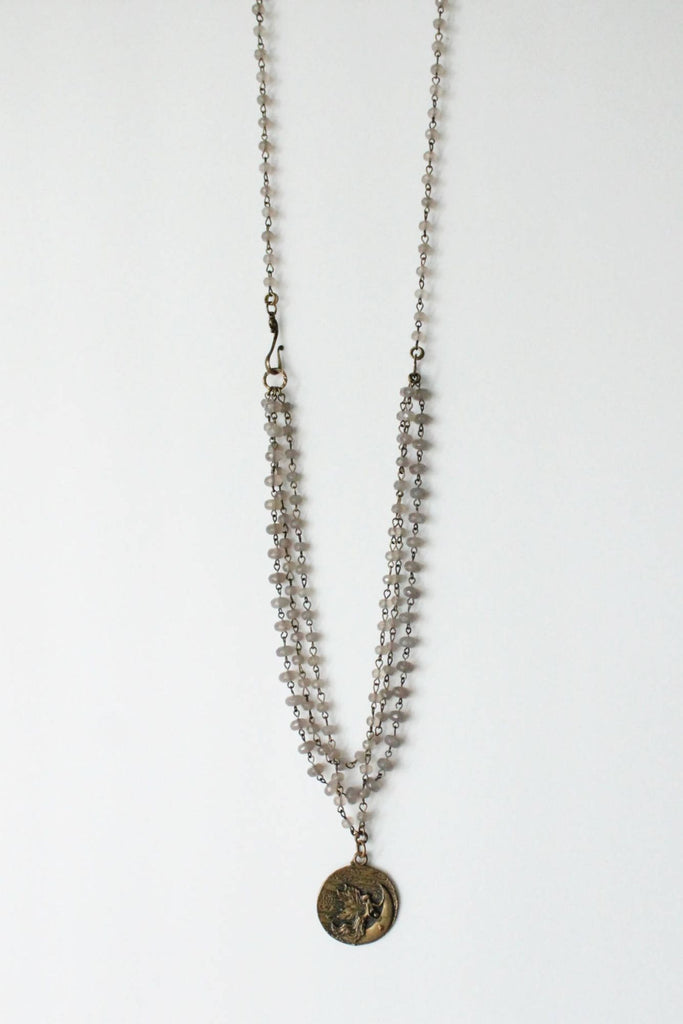 zoWEE Jewels Triple Beaded Chain Necklace w/Coin Grey Agate Fairy