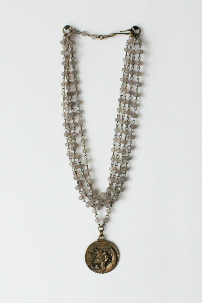 zoWEE Jewels Triple Beaded Chain Necklace w/Coin