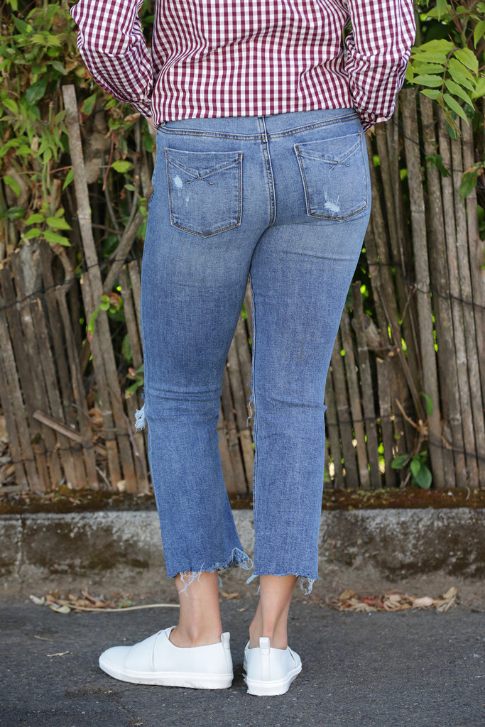 Unpublished Margaux Mid Rise Cropped Denim Flare in Wanderlust