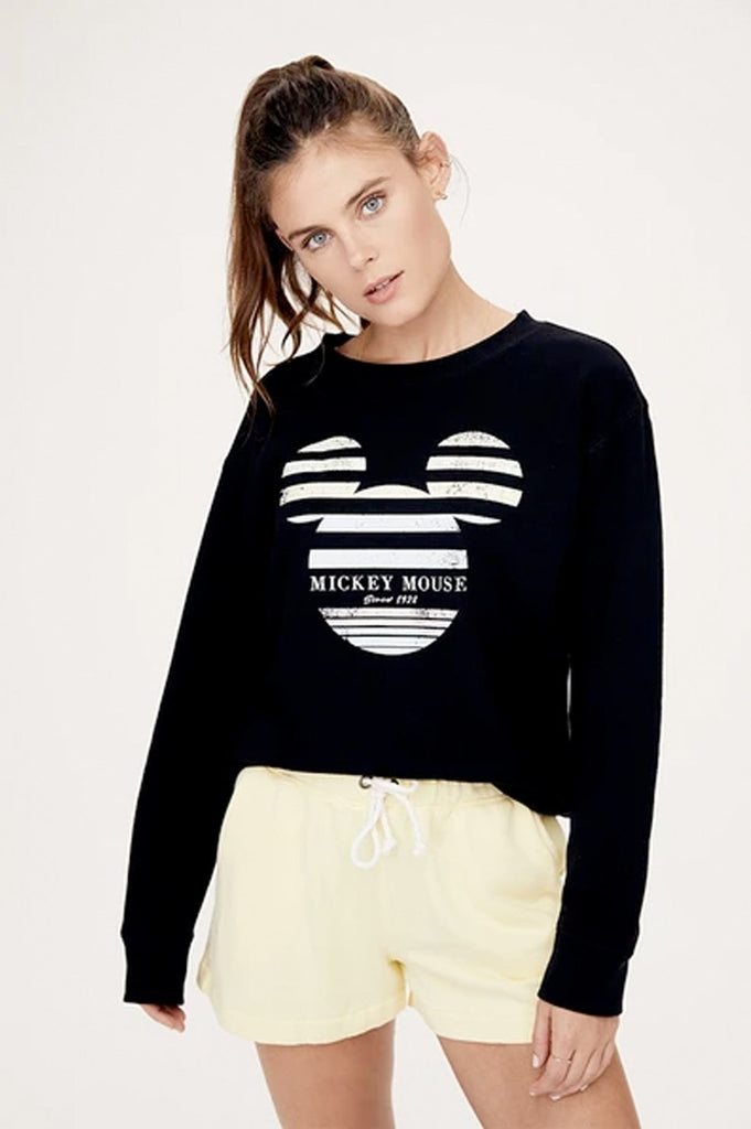 David Lerner Stripe Mickey Crew Neck Pullover