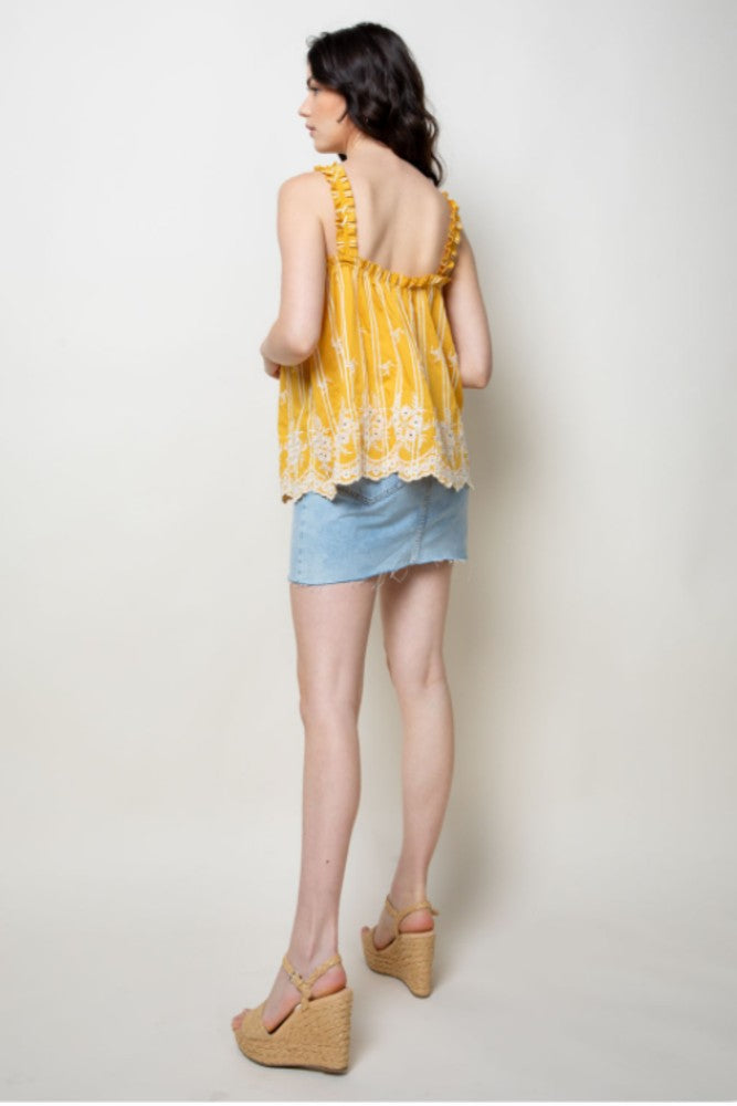HOLIDAY Embroidered Tassel Tie Tank Top