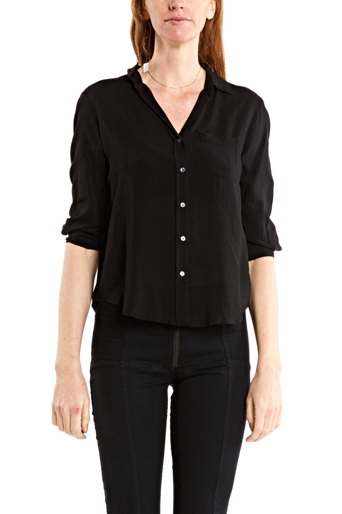 Velvet by Graham & Spencer Malinda 3/4 Button Shirt in Black