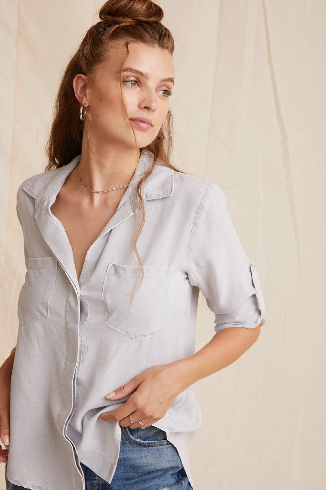 Bella Dahl Split Back Button Down Foggy Sky