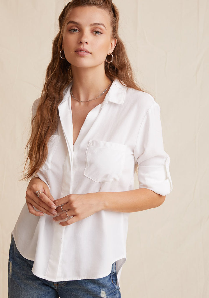 Bella Dahl Split Back Button Down White