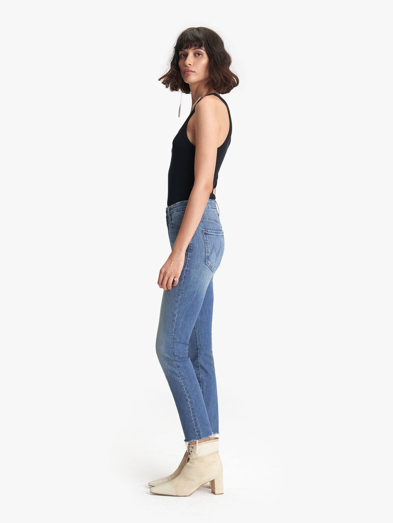 Mother High Waisted Looker Ankle Fray in Wander Dust