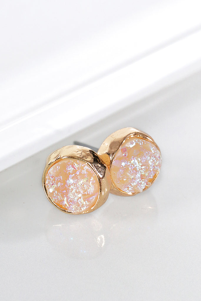 ADORN Dainty Round Druzy Post Earrings