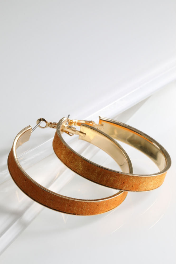 ADORN  Genuine Leather Hoop Earrings