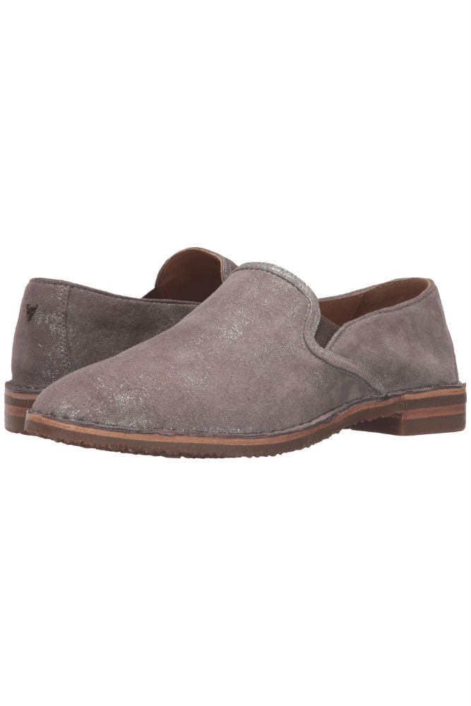 Trask Ali Loafer in Pewter Metallic Suede