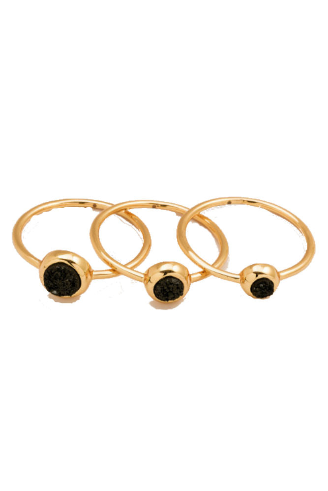 Gorjana Astoria Ring Set - Black Druzy/Gold