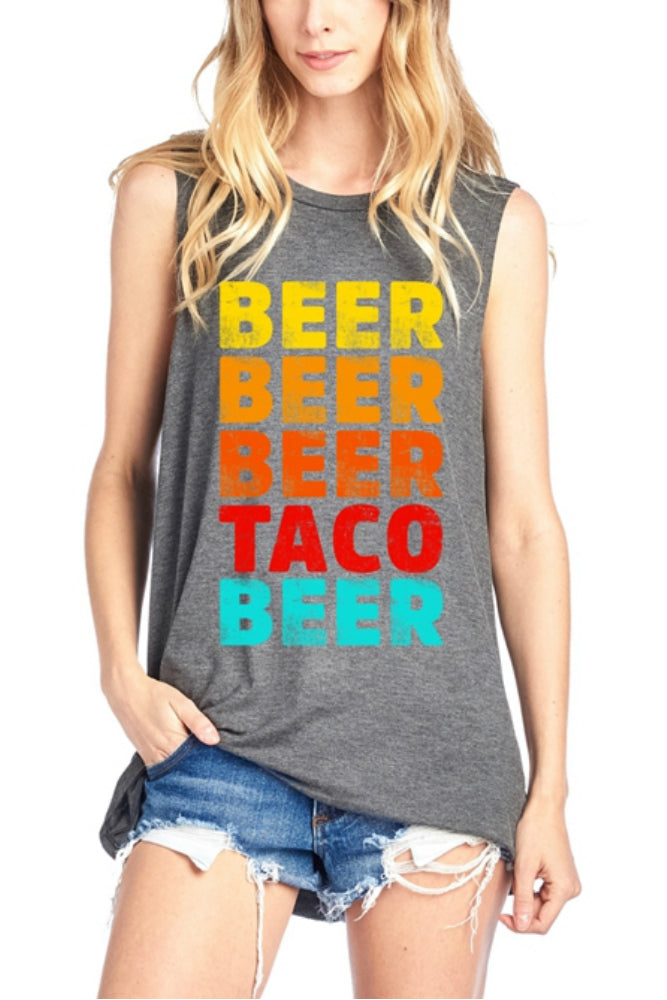 ZUTTER Beer/Taco Muscle Tee in Charcoal