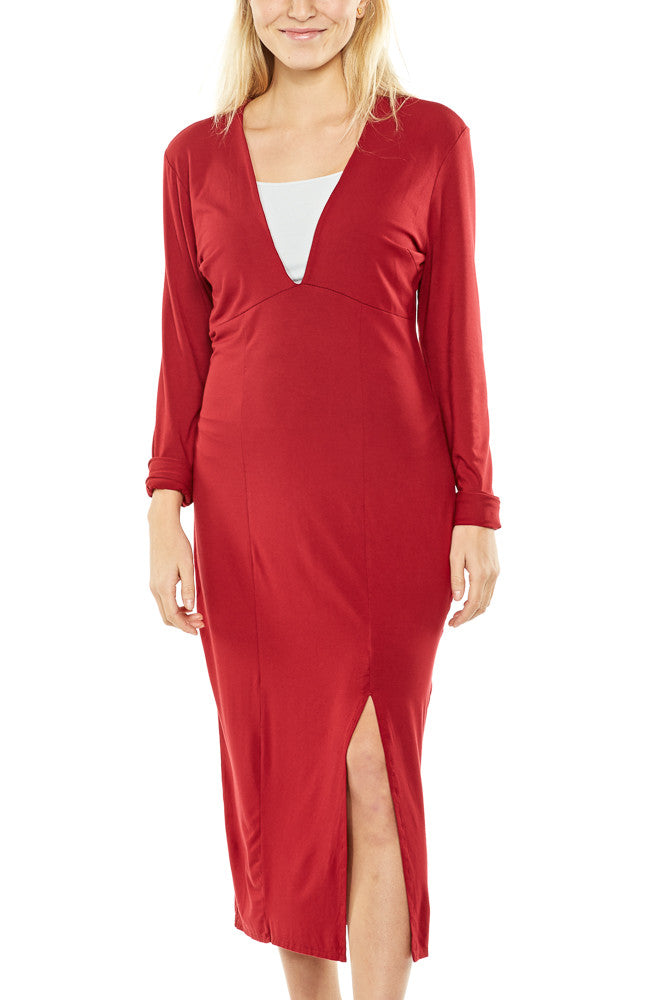 Bobi V-Neck Midi Dress