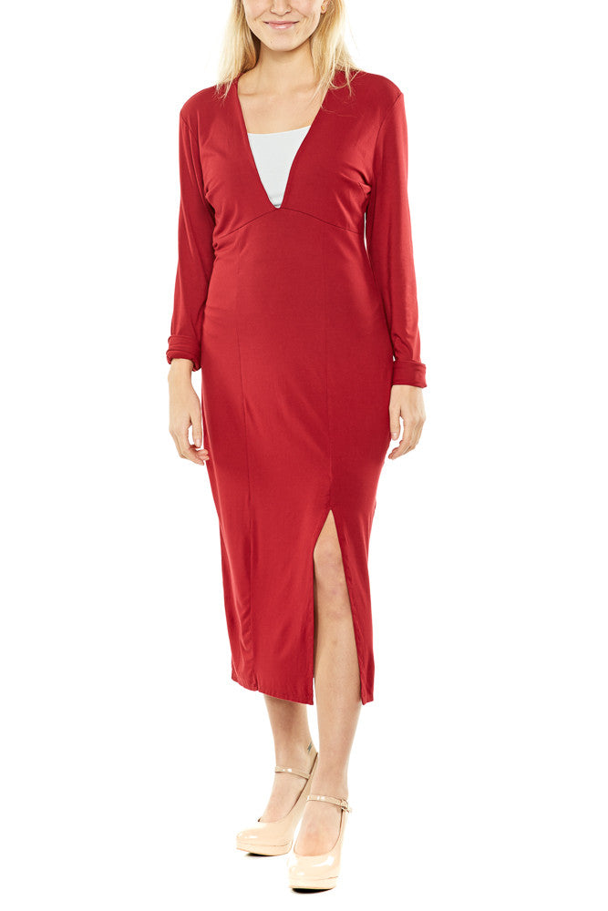 Bobi V-Neck Midi Dress FINAL SALE