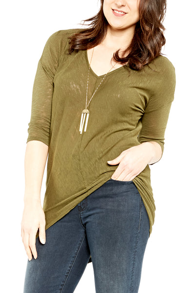 Bobi 3/4 Sleeve Hi-Low V-Neck in Cargo