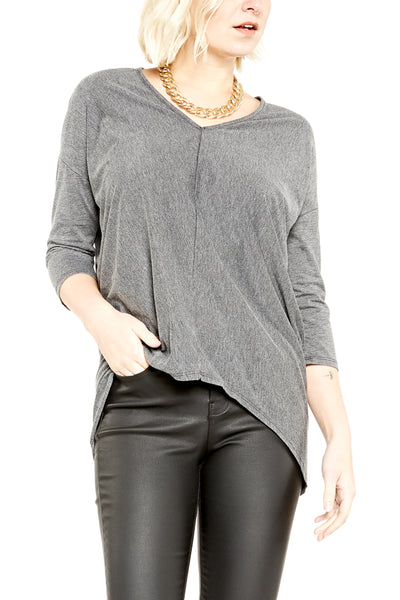 Bobi 3/4 Sleeve Vintage Hi-Low V-Neck in Black