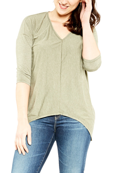 Bobi 3/4 Sleeve Vintage Hi-Low V-Neck in Cargo