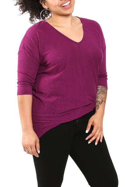 Bobi 3/4 Sleeve Hi-Low V-Neck in Blackcherry