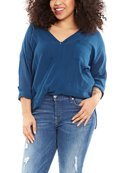 Bobi Draped 3/4 Sleeve Top in Admiral