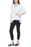 Bobi 3/4 Sleeve Hi-Low V-Neck in White