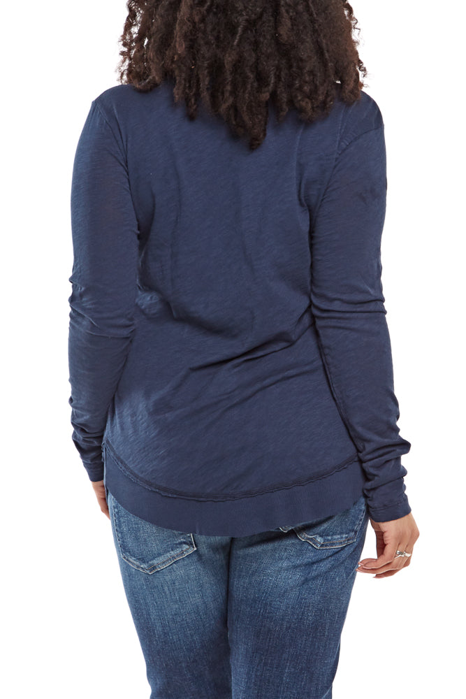 Bobi L/S Curved Hem Tee in Nocturnal