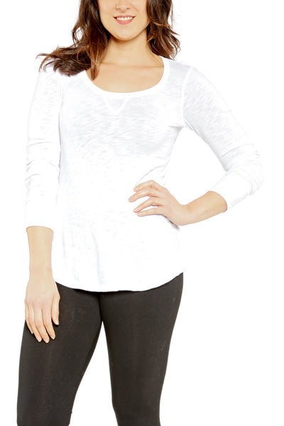 Bobi Sporty Scoopneck in White