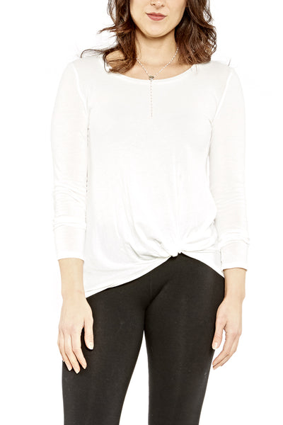 Bobi L/S Twist Knot Tee in Bone