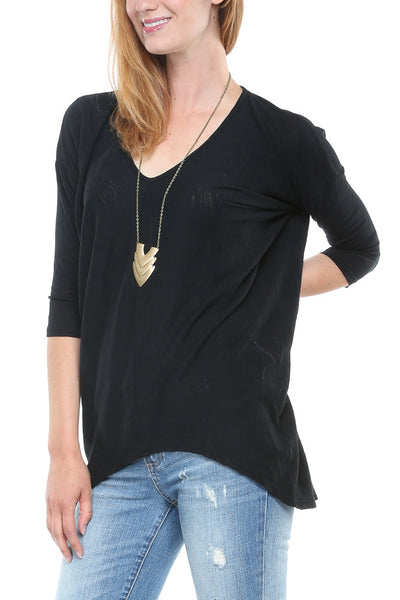 Bobi 3/4 Sleeve Hi-Low V-Neck in Black