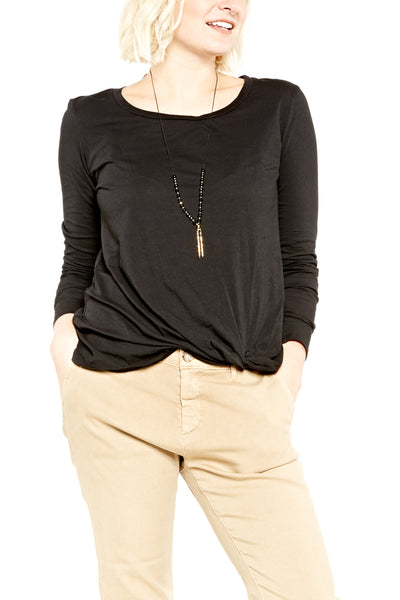 Bobi L/S Twist Knot Tee in Black