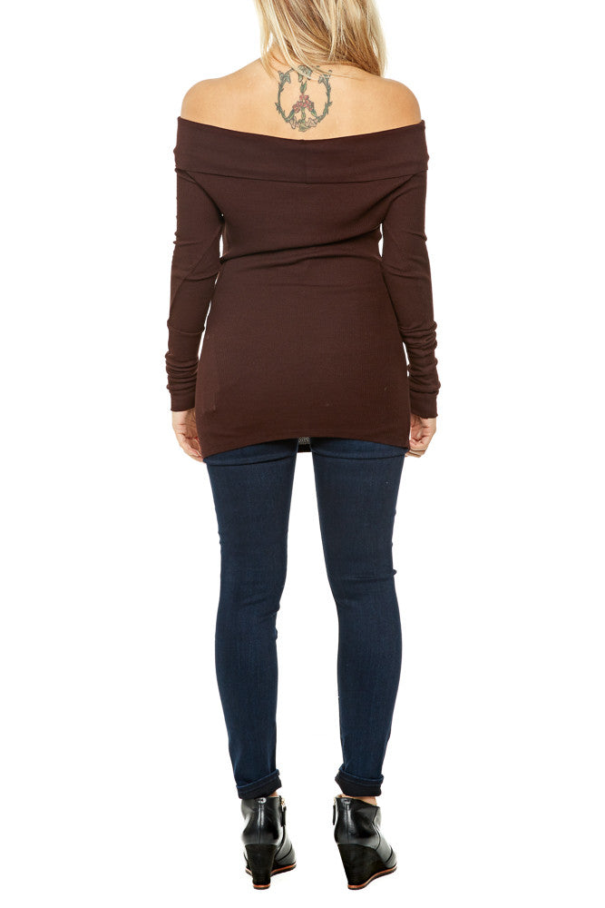 Bobi Off Shoulder Thermal in Cocoa FINAL SALE