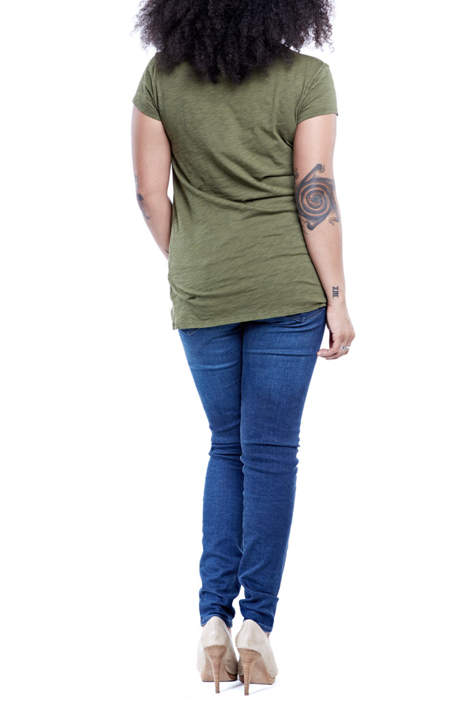 Bobi Twist Knot Tee in Cargo