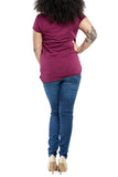 Bobi Twist Knot Tee in Blackcherry