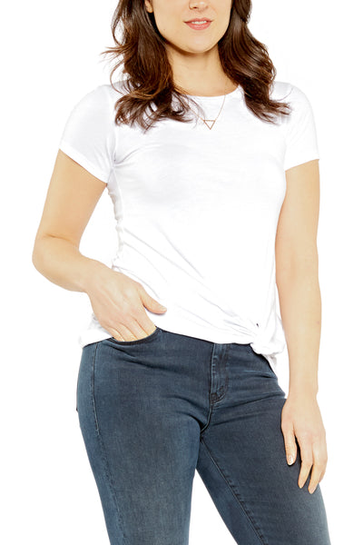 Bobi Knot Tuck Tee in White