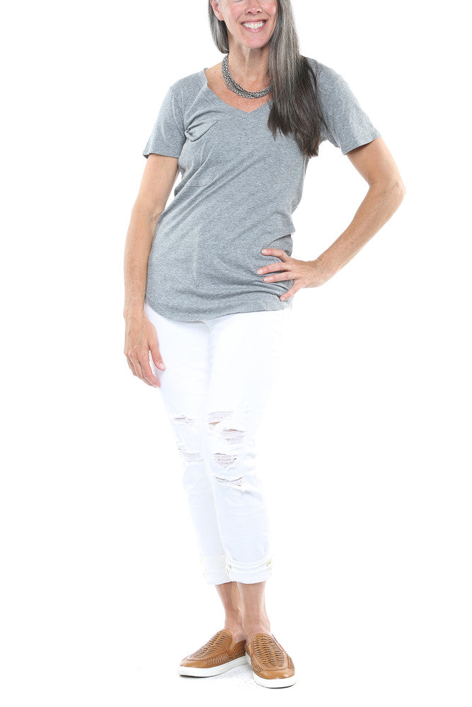 Bobi Deep V-Neck Tee in Thunder FINAL SALE