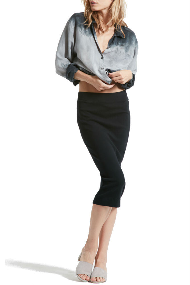 Hard Tail Calf Length Pencil Skirt in Black