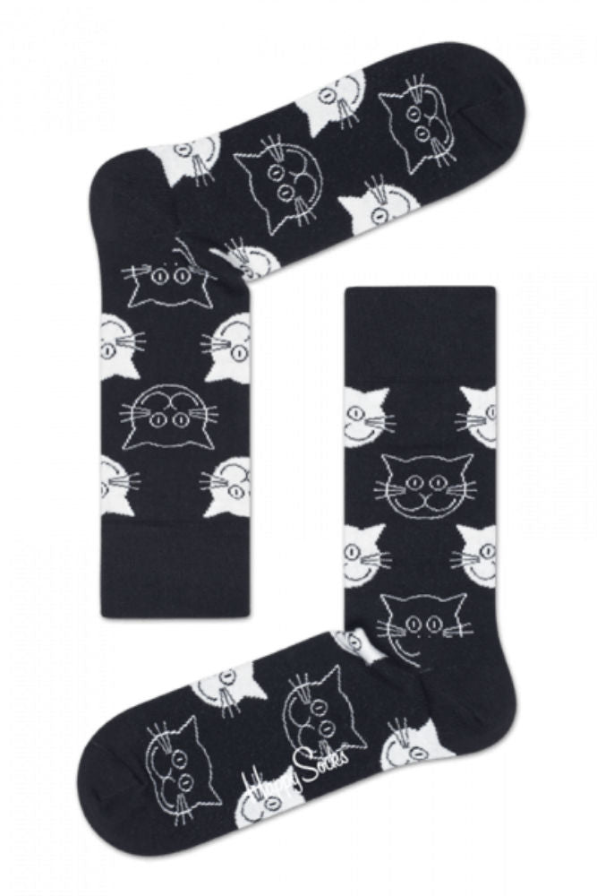 Happy Socks Cat Crew Sock in Black/White
