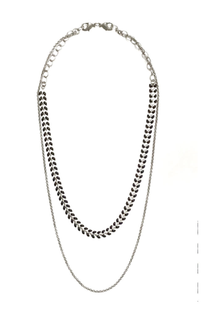Grayling Chevron Convertible Necklace Silver Black