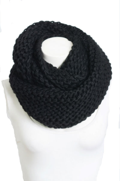 Leto Accessories Chunky Braided Infinity Scarf in Black