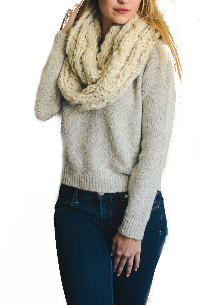 Leto Accessories Ultra Soft Chunky Infinity Scarf in Oatmeal