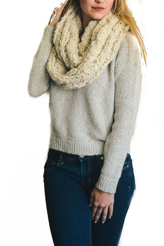 Leto Accessories Marled Chunky Knit Infinity Scarf in Mocha
