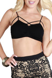 Niki Biki Criss Cross Strap Bra in Black